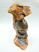 African Makonde Native Ebony Carving Wood Sculpture Carved Head Tanzanian Vint