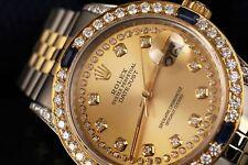 Rolex 31mm Datejust Watch Champagne String Dial Sapphire & Diamond Bezel