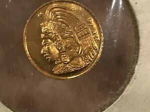 AZTEC MAYAN INDIAN 22KT AB YELLOW GOLD CALENDAR COIN UNKNOWN YEAR