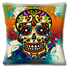 "Vintage Retro Mexican Sugar Skull Day of the Dead Multi16"" Pillow Cushion Cover"