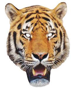 Tiger 2D Animal Single Card Party Mask - World Book Day Jungle Safari Wildlife