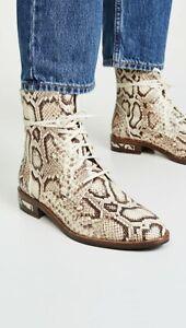 $520 Freda Salvador Ankle Boots Ralf Combat Hiking Booties 8 Snake Python Shoes