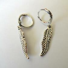 MEN'S WOMEN'S HOOP EARRINGS C. SILVER WITH FEATHER PENDANT - 17 T