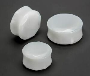 Double Faceted White Opalite Glass Plug - Price Per 1