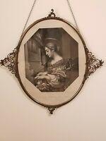 Antique Victorian Silver Framed Art Portrait of St Cecilia Vintage late 1800s