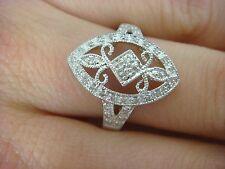 14K WHITE GOLD 2.8 GRAMS & PAVE SET DIAMONDS LADIES FILIGREE RING SIZE 7.25