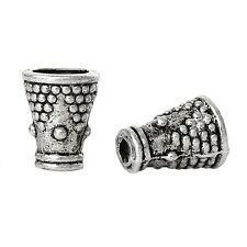 30x perlas tapas perlkappen remates cuerno para 4 mm perlas metal plata Antik