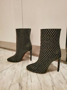 Alaia Grommet Embellished  Black Leather Ankle Boot Size 37.5 worn once ($1595)
