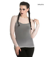 Hell Bunny T Shirt Top LAURA MESH White IVORY Gothic Fishnet All Sizes
