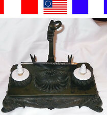 1870 ANTIQUE BRONZE NAUTICAL INKWELL 4th of July Navy Ships Naval Dolphins Boat