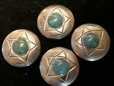 1950s American Indian button covers with turquoise