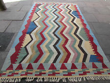 Hand Made Traditional Persian Kilim Oriental Orange Blue Wool Kilim 317x190cm