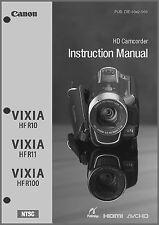Canon VIXIA HF R10, R11, R100 Camcorder User Instruction Guide  Manual