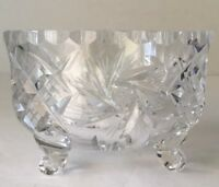 ABP Pinwheel, Star, CrossHatch 3 footed clear Heavy glass crystal candy dish VTG