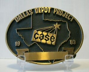 Case Construction 1983 Dallas Depot Project The Norman Company Brass Belt Buckle