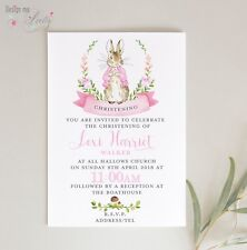 Peter Rabbit PERSONALISED CHRISTENING INVITES - Pack of 8 - BABY GIRL