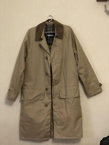 Barbour A968 Lightweight 3/4 Rain Trench Coat Tartan Beige Size XS