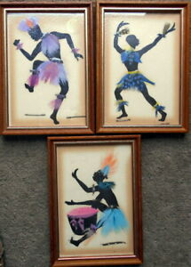 Three small framed silhouettes feather/embellished  and painted with fast dyes