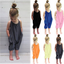 Fashion Toddler Kid Baby Girls Straps Rompers Jumpsuits Piece Pants Clothing
