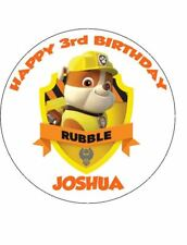 RUBBLE from PAW PATROL 19cm Round Edible Image ICING Sheet Birthday Cake Topper