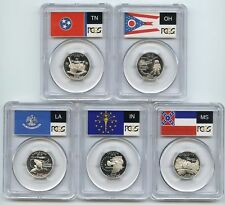 2002-S (IN OH TN LA MS) SILVER PCGS PR70DCAM State Flag Quarter 5 Coin Proof Set