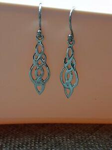 Sterling Silver Celtic Knot Look Dangle Earrings