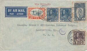Thailand Siam airmail cover to Louisville USA via Holland