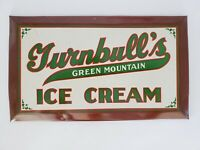 RARE 1920s Turnbull's Green Mountain Ice Cream Metal Sign Orleans VT & MA Sign