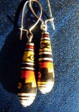 BOUCLES d'oreilles PERUVIENNES terre cuite  peinte à la main ARTISANAT indien