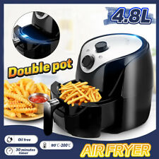 4.8L Electric Air Fryer Pan With Basket 1500W Health Oil Free Oven Cooker Timer