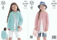 Childrens Double Knitting Pattern King Cole Girls Coats Bamboo Cotton DK 4322