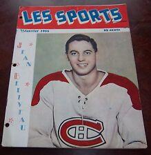 Les Sport January 1955 Jean Beliveau Montreal Canadians