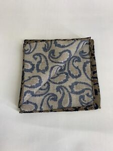 SUITSUPPLY BROWN WOOL PAISLEY POCKET SQUARE/HANDKERCHIEF 190337