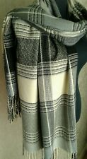 Black & Grey Check Grid Pattern Winter Tassel Edge Blanket Scarf  Pashmina  New