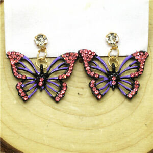 Hot Purple Gorgeous Butterfly Bling Crystal Betsey Johnson Women Stand Earrings