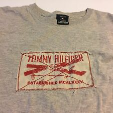 Tommy Hilfiger Spellout Gray Ski Patch T Shirt Distressed Mens XL Flaw on sleeve