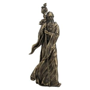 Merlin Wizard with Staff  Mystical Magical Figure Cold Cast Bronze Statue.