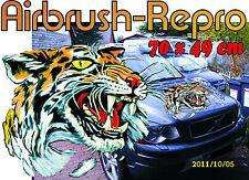 Sticker Tiger kopf  Motorhaube Auto Bus Truck Caravan Boot 70 cm Air Brush Repro