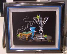 "**Michael Godard-""POOL SHARK II"" Billiards-Eight Ball-Martini-Cigar-Art-FRAMED**"