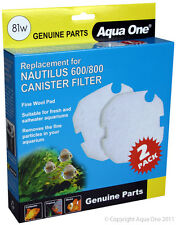 Aqua One A1-25081w Replacement Wool for Nautilus 600/800 Canister Filter 2/pk