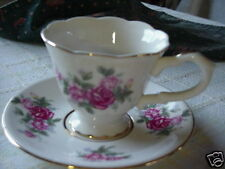4 Sets Porcelain China Floral Country Rose Tea Cups Saucers