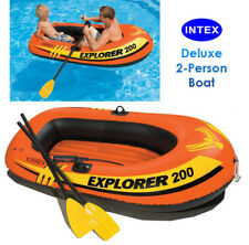 INTEX Explorer 200 2-Person Inflatable Boat w/ French Oars & Air Pump Pool Raft