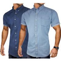 Mens Short Sleeve Denim Shirt Summer Dark Mid Wash 100% Cotton