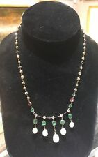 Natural Salt water Pearls w GIA - Diamonds Ruby & Emeralds Necklace 18 k gold