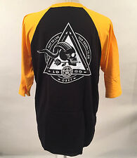 Obey Men's Baseball T-Shirt Too Fast to Live Black/Gold Size L NEW Skull Arrow