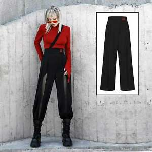 PUNK RAVE Wide Wing Pants Gothic Hose Schwarz Netz-Kontrast Hosenrock Culottes