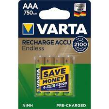 4 X Batterie Varta Recharge Accus Endless 750 mAh AAA Micro-Neuf Batteries 56673