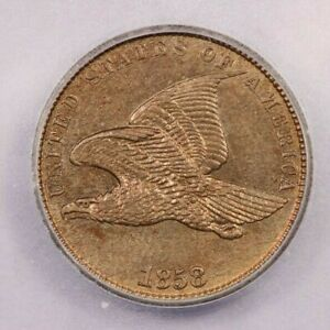 1858-P 1858 Flying Eagle Penny 1c ICG Small Letters MS63