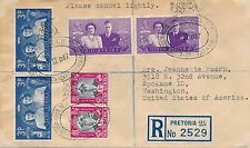 South Africa to Spokane, USA Registered Cover, Royal Visit 1947