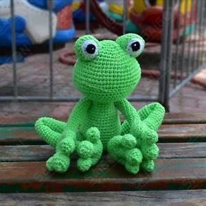 Green Frog - Finished Handmade Amigurumi Crochet Doll
